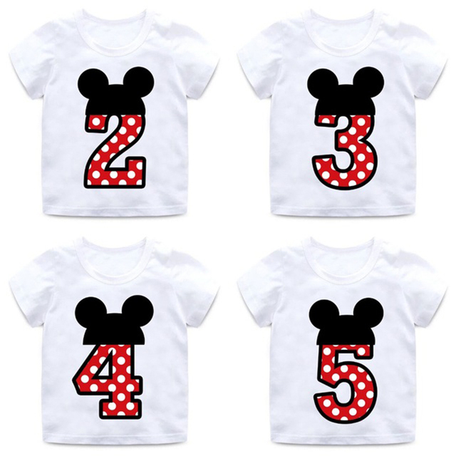boys and girls happy birthday number 1 9 letter print t shirt enfant summer tops