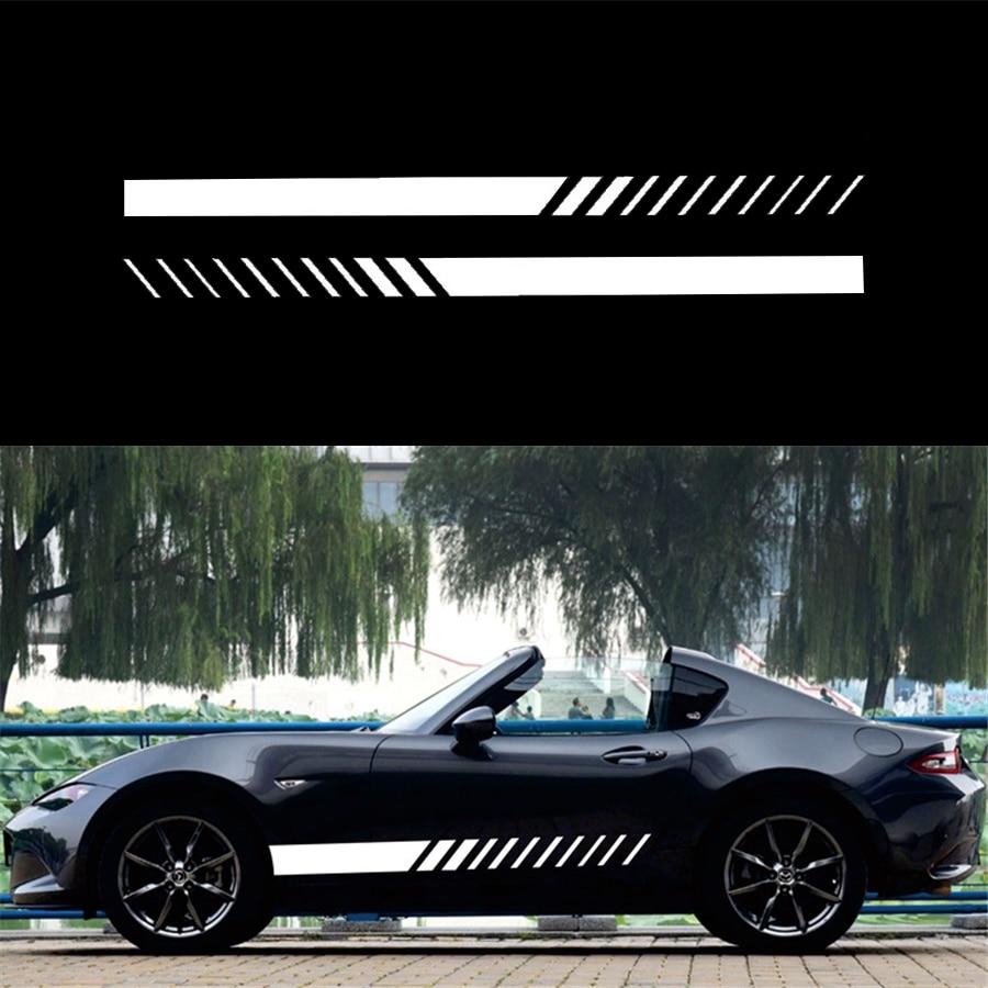 2Pcs Car Side Body Graphics Vinyl Decal Sports Racing Long Stripe Sticker White