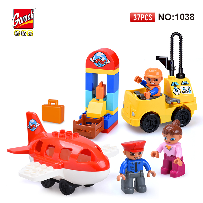 GOROCK 1038 Big Building Blocks Model Set 37Pcs children Educational Bricks Toys For Toy Gift For Baby Compatible With Duploe 48pcs good quality soft eva building blocks toy for baby