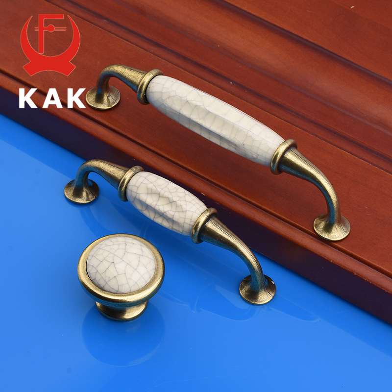 KAK Antique Crack Design Wardrobe Door Knobs Handles Marble Ceramic Cabinet Drawer Knobs European Style Furniture Hardware