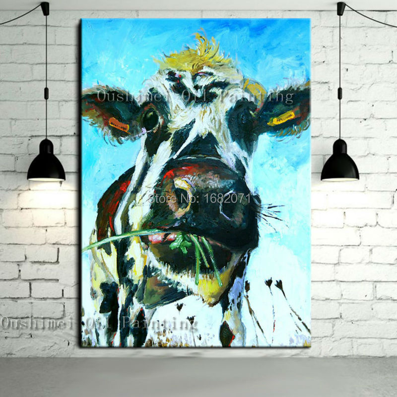 Free Shipping Skills Artist Handmade High Quality Abstract Animal Cow Oil Painting Pop Art Painting For Living Room Decoration