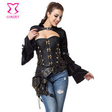 Black Brocade Steampunk Corset Halloween Bustier Tops Gothic Clothing Plus Size Corsets And Bustiers Punk Korsett For Women Sexy