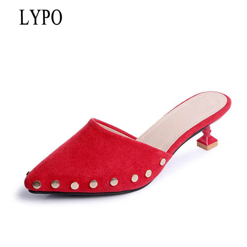 LYPO Fashion 2018 spring autumn Korea pointed toe with high heels female rivets Flock Slippers Muller Red half slippers Women odetina fashion women pointed toe rivets loafers 2017 spring