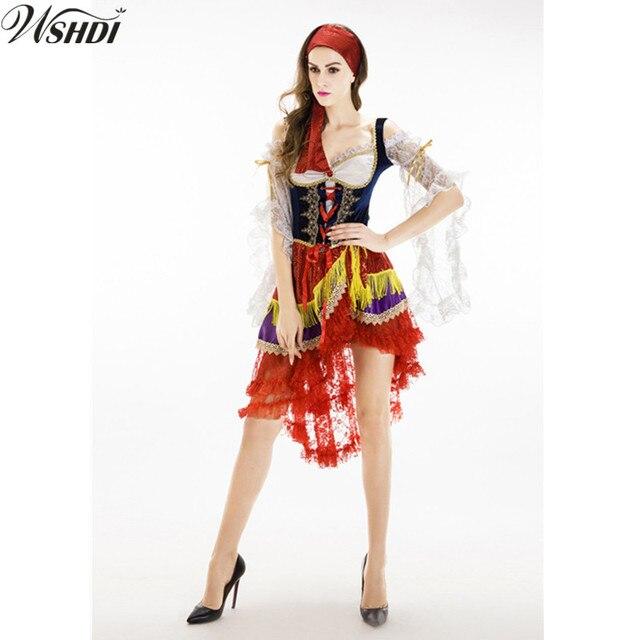 2ed8190ac2b Piratas del Caribe Traje Adulto mujeres de Halloween Sexy de Encaje Vestido  de la Reina Bruja