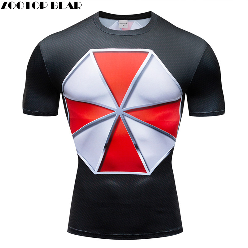 resident evil t shirt Men Compression Short Sleeve T-shirt Top Bodybuilding Fitness Male Tshirt Crossfit Anime Tee Costume