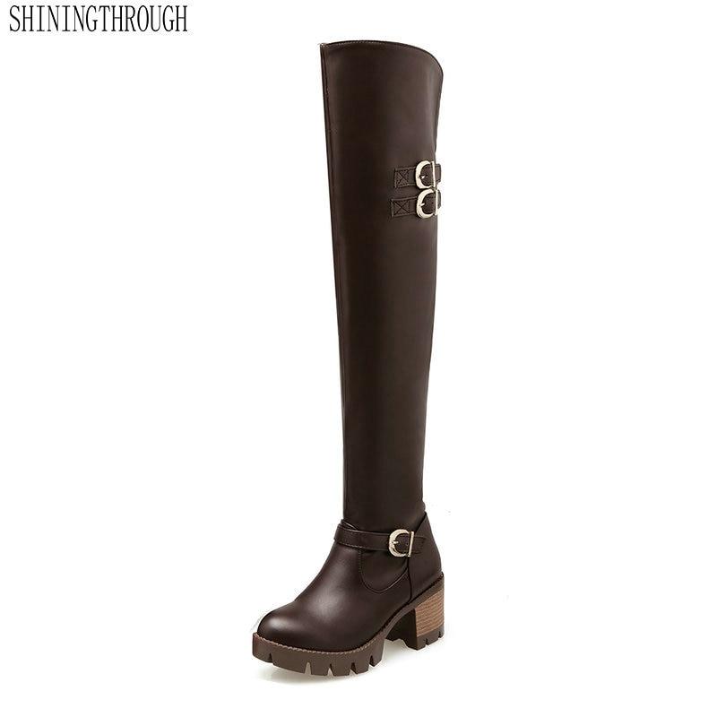 Alto De Casual Negro Moda Rodilla 5 Talón 6 Primavera La 2019 Hermosa Botas Pierna marrón Mujeres Cm Zapatos Otoño Sobre 45wqZBW