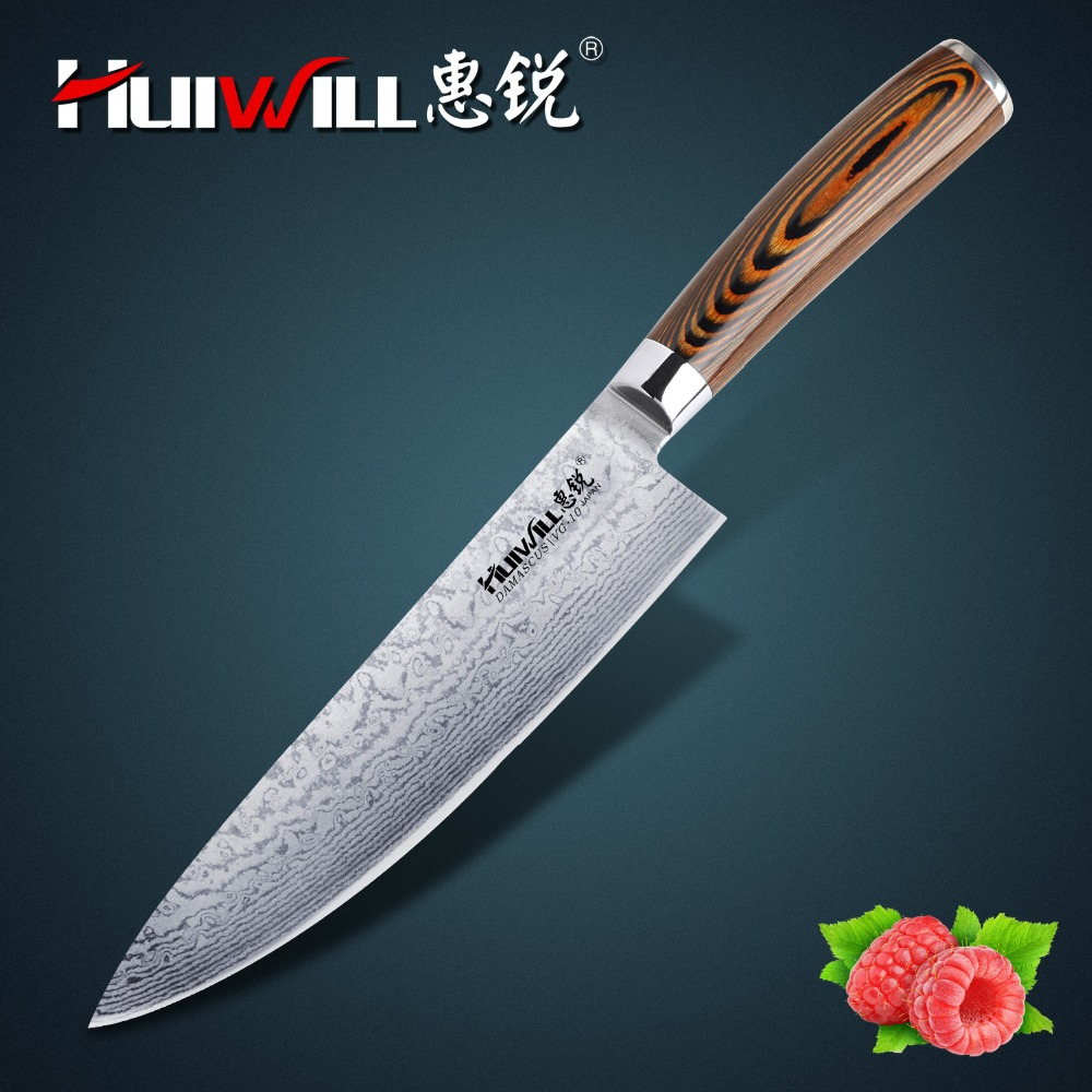 Huiwill Super quality 8 Japanese VG10 Damascus steel kitchen chef knife Slicing Dicing Knife with Pakka