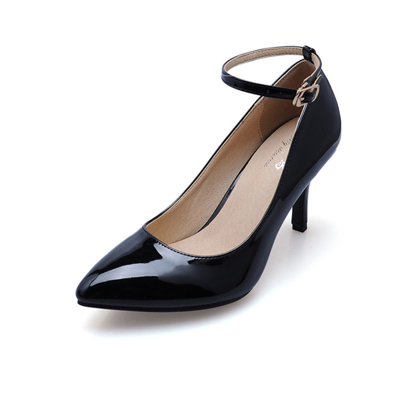 New 2017 Summer Patent Leather Shoes Woman Fashion Sexy High Thin Heels Women Pumps Pointed Toe Ankle Strap zapatos mujer summer new brand patent leather cachottiere 100mm women sandals fretwork peep toe high heels shoes woman pumps zapatos mujer