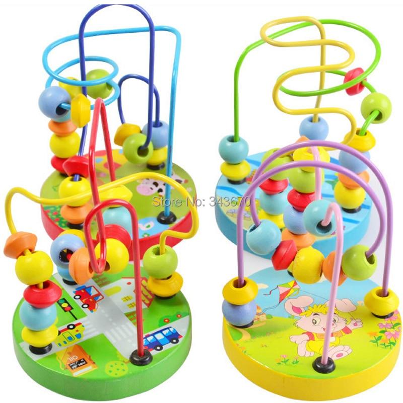 1pcs 아기 나무 장난감 구슬 주위 미니 와이어 미로 - 학습 및 교육 - 사진 2