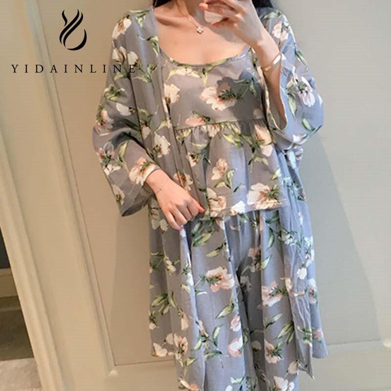All Seasons Long Sleeve Silk Pijama Feminino Suit Tank Tops+Pants+Cardigan Women Lounge Pajama Sets Stain Silk Pijamas Sleepwear