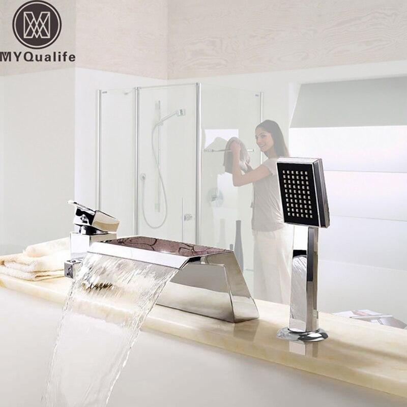 Deck Montieren 3 Pcs Wasserfall Badewanne Wasserhahn Einzigen Griff Handheld Badewanne Mischbatterien Chrom Verbreitet Badewanne Waschbecken Tap
