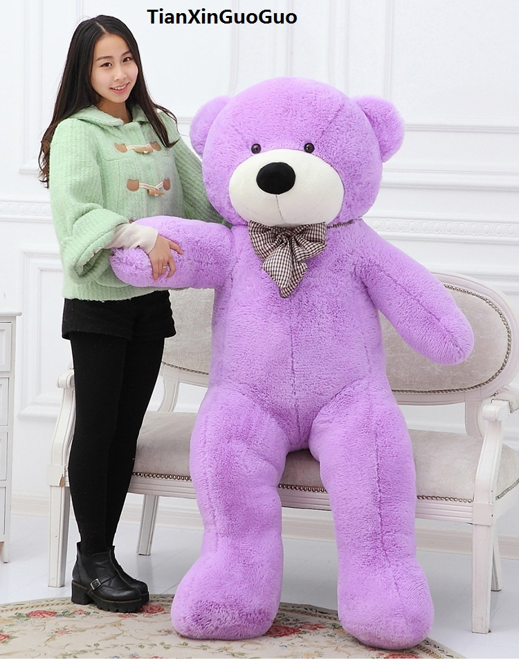 huge 180cm fillings toy purple Teddy bear plush toy bowtie bear soft doll hugging pillow Christmas gift b2785 stuffed animal 120 cm cute love rabbit plush toy pink or purple floral love rabbit soft doll gift w2226