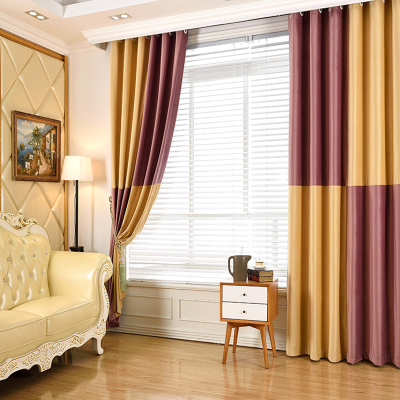 Luxury Europe Blackout Velvet Curtains Fabric For Bedroom Dark Red Splicing Yellow  Curtains Modern Living Room Window Treatment In Curtains From Home ...