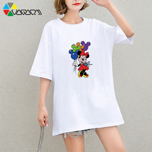 Women Fashion Minnie Mickey Mouse Print Short Sleeve Plus Size T-shirt Harajuku Party Club Tees Casual Tshirt Wear