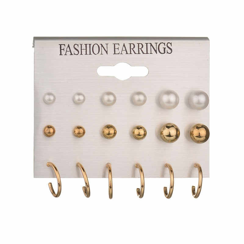 Fashion Elegant Crystal Round Simulated Pearl Flower Stud Earrings Set for Women Earrings Brincos Jewelry Wedding Bijoux