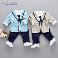 3pcs Gentleman Baby Boy Clothes Sets With Tie Spring 2018 College Style Kids Boys Clothing Set