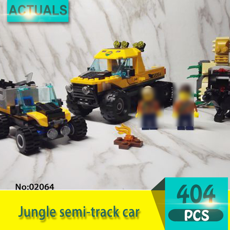 Lepin 02064 404Pcs City series Jungle semi-track car Model Building Blocks Set Bricks Toys For Children Action figures 1710 city swat series military fighter policeman building bricks compatible lepin city toys for children