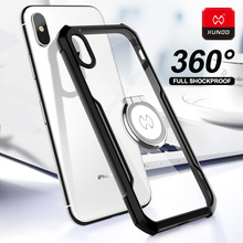For iPhone XR X XS Max Transparent Cover Magnetic car holder 360 Shockproof Phone Case For iPhone 11 Pro Max Silicone Back Cases