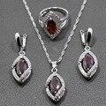 Rhodolite Garnet White Zircon 925 Sterling Silver Women Jewelry Sets Earrings/Pendant/Necklace/Ring Free Gift Box 200