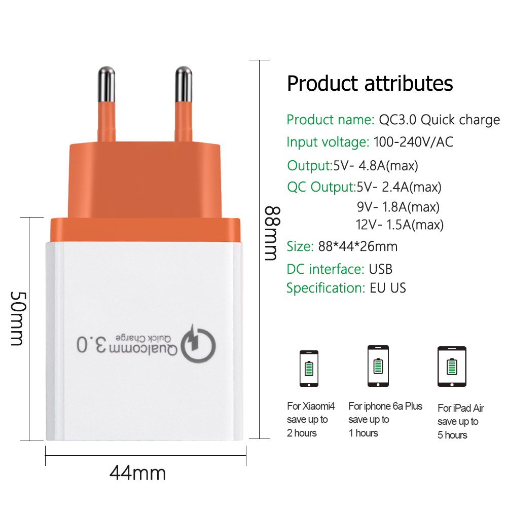 Adapter - 18 W USB Quick charge 3.0 5V 3A for Iphone 7 8 EU US Plug Mobile Phone Fast charger charging