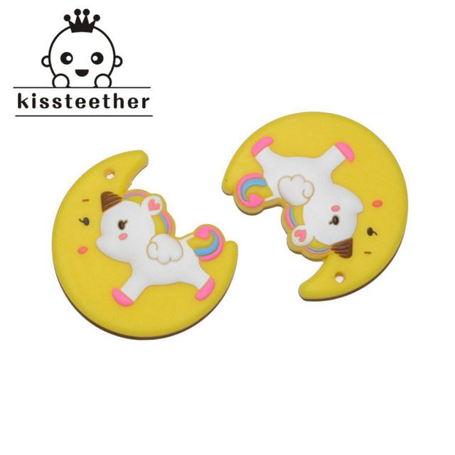 2pc Silicone Unicorn Moon BPA Free Silicone Teething Children's Jewelry Molar Teeth Toy Nursing Necklace Pendant