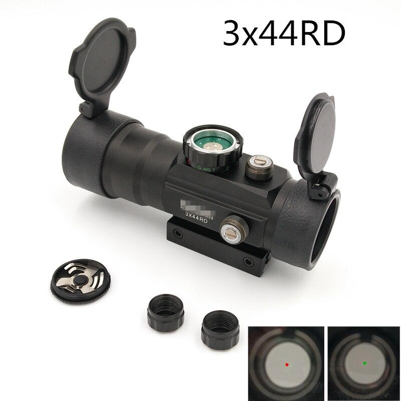3X44 RD Tactical Red Dot Sight font b Hunting b font Scope Fit Rail Mount 11mm