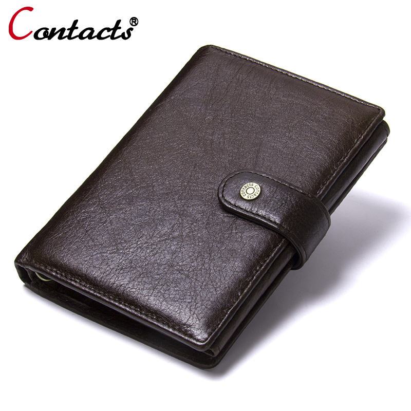 CONTACT'S Men Wallets Genuine Leather Wallet Men Passport Cover Card Holder Coin Purse Men Clutch Bags Leather Wallet Male Purse joyir genuine leather men wallets vintage zipper long wallet male men clutch bags slim coin purse men leather wallet card holder