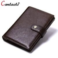 CONTACT S Men Wallets Genuine Leather Wallet Men Passport Cover Card Holder Coin Purse Men Clutch