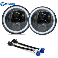 Pair Halo Ring Hi Lo Beam DRL 7 INCH LED Headlight Harley Daymaker Headlamp For Jeep