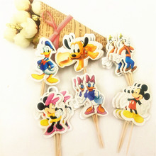 24pcs Cartoon Dog Mickey Mouse Minnie Cupcake Toppers pick Party Supplies Kids Birthday Party wedding cake flag Decorations 24pcs lot cartoon easter bunny flowers cupcake toppers cute white rabbit cake pick hat party decorations baby birthday wedding