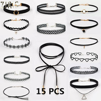 Ziris 15 pcs pack choker necklace black lace leather velvet strip woman collar party jewelry neck.jpg 200x200