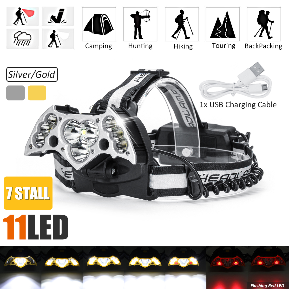 Smxui 7/9/11 LED Headlamp 50000LM LED T6 Headlight Head Flashlight Torch Forehead Rechargeable COB Head Lamp Fishing Headlight 30w led cob usb rechargeable 18650 cob led headlamp headlight fishing torch flashlight