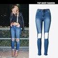 Estilo Boyfriend Jeans Para Mujeres 2017 Nueva Moda de Primavera y Verano de Las Mujeres Jeans Flaco Pantalones Harem del Dril de Agujeros Rasgados Pantalones Vaqueros Mujer