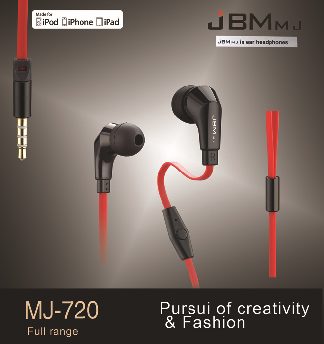 JBM-MJ720 Stereo Bass auricolari Cuffie in metallo vivavoce Auricolare in-ear da 3,5 mm MIC Auricolari per tutti i telefoni cellulari mp3
