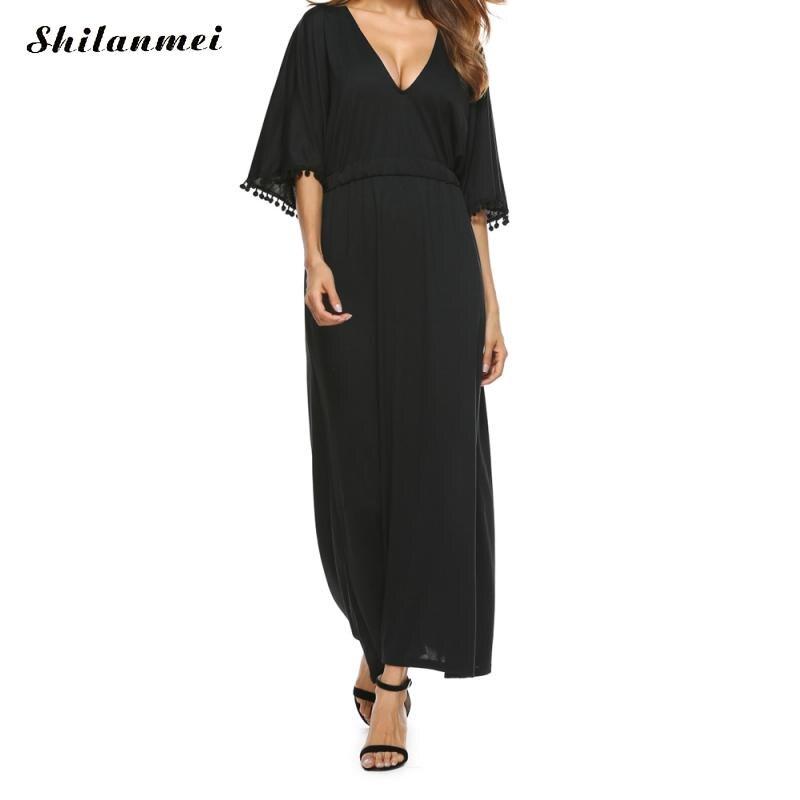 74e3fa7f43 Summer Black Sexy Deep V-neck Dress Women Sundress Casual Maxi Dress Belted  Boho Dresses Party Ladies Elegant Vestidos De Festa