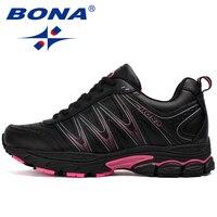 BONA החדש חם סגנון תחרה עד נעלי ספורט נשים נעלי ריצה ריצה חיצוניות הליכה נעלי נוחות נעלי ספורט נעלי ספורט לנשים