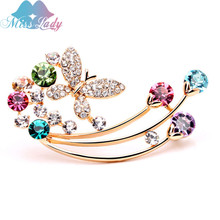 Miss Lady Fashion Gold Color Crystal Rhinestone Butterfly Brooch Pin Jewelry For Women Accessories MLY5579