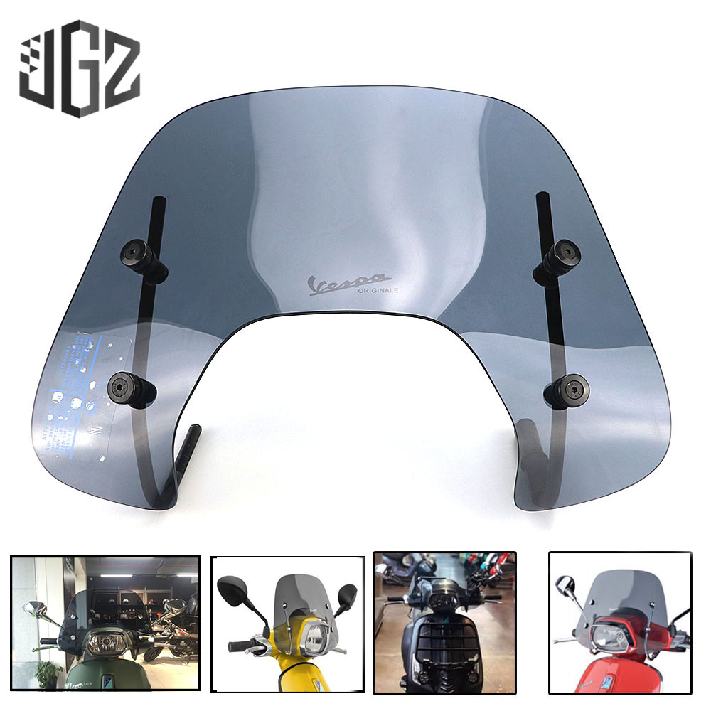 Motorcycle Acrylic Screen Windshield Windscreen Wind Deflector Cover For VESPA Sprint 150 With Bracket Accessories Black