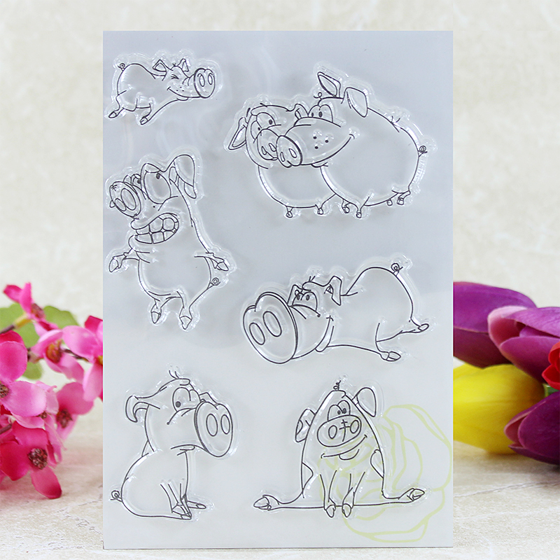 pig  Transparent Clear Silicone Stamp/Seal for DIY scrapbooking/photo album Decorative clear stamp sheets A066 lovely animals and ballon design transparent clear silicone stamp for diy scrapbooking photo album clear stamp cl 278