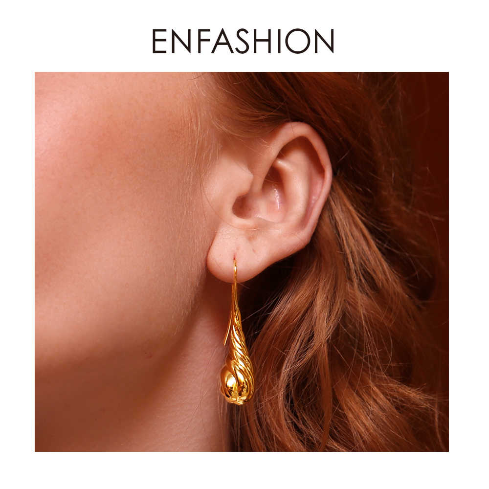 ENFASHION Twisted Water Droplets Dangle Earrings For Women Gold Color Metal Long Drop Earings Vintage Jewelry Oorbellen EC191035