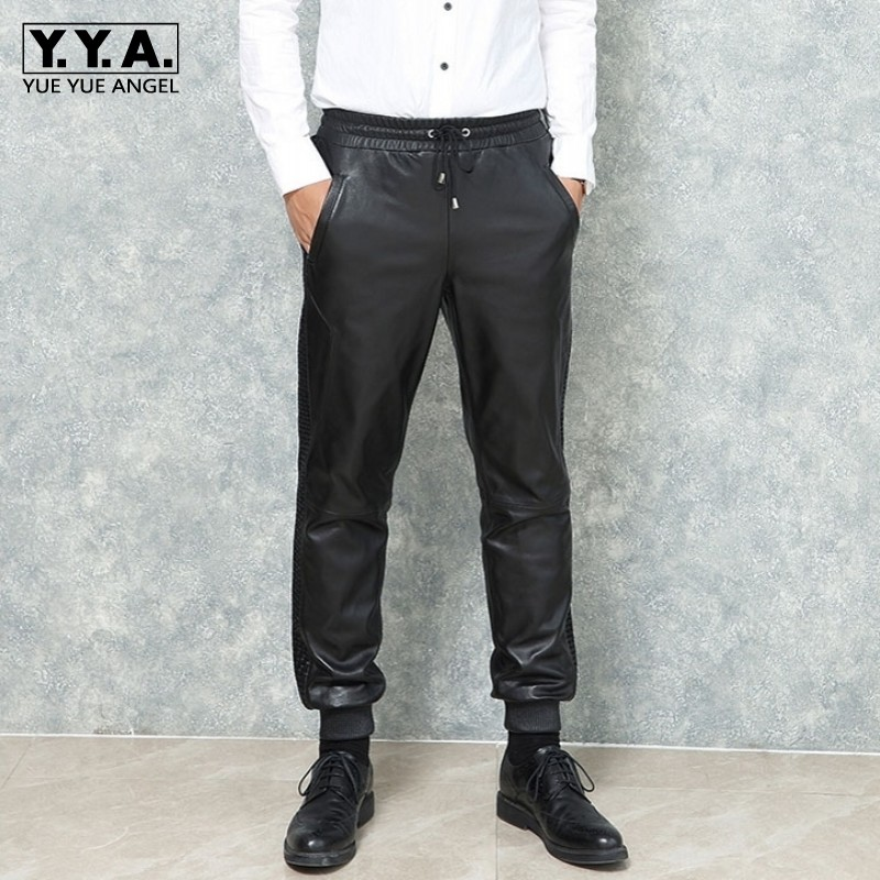 2019 New Man Loose Fit Harem Pants Genuine Leather Drawstring Elastic Waist Joggers Trousers Black Sheepskin Leather Pants Men