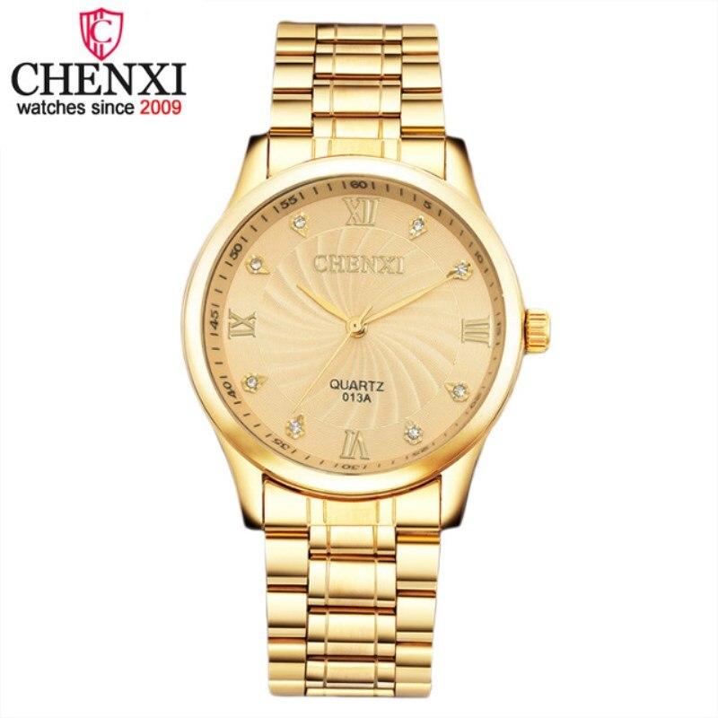 7e41b35babc NATATE Ouro Novo Relógio de Ouro Da Moda Homens relógio de ouro cheio de  Aço Inoxidável relógios de Quartzo Relógio de Pulso Homens CHENXI Assistir  1040