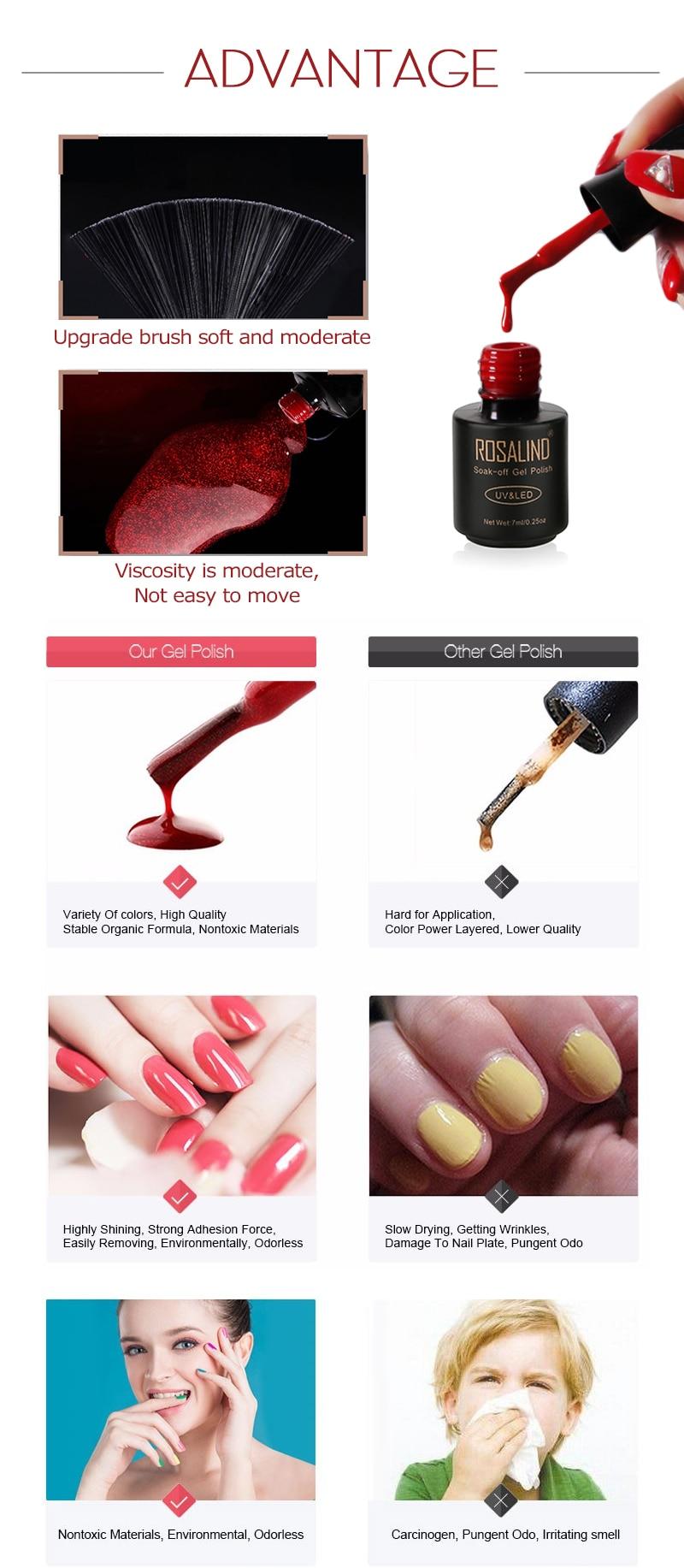 ROSALIND Gel Polish Varnish Set For Nails Extension Vernis Semi Permanent All for Manicure Base Coat Nail Art UV Gel Nail Polish 8