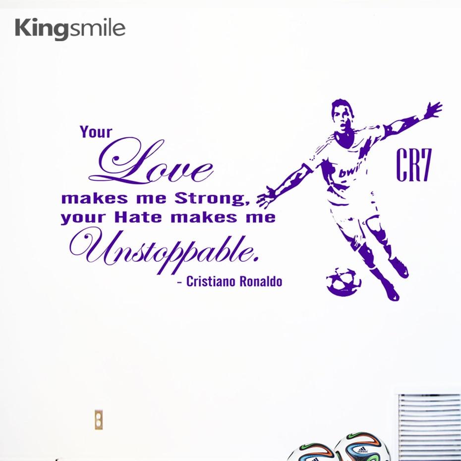 Cr7 cristiano ronaldo figure football vinyl wall art decals stickers inspiring quotes removable mural diy kids room home decor