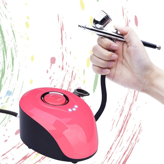 Kit de boquilla de aerógrafo de doble acción de 0,2mm, compresor de 2cc/7cc con pistola de pulverización de pintura de cepillo de aire para arte de uñas, cepillo de aire