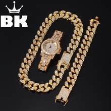 2cm Hip Hop Gold Color Iced Out Crystal Miami Cuban Chain Gold Silver Necklace & Bracelet watch Set HOT SELLING THE HIP HOP KING(China)