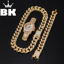 Chain Gold Bracelet Silver Necklace Miami Cuban Iced-Out Hip-Hop Crystal 2cm Watch-Set