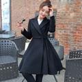 Осень Зима Пальто Женщин Элегантный Винтажный Шерстяное Пальто Макси Платье шерстяное Пальто Длинный Жакет Женщины Куртка Плюс Размер Пальто Женщин C2671