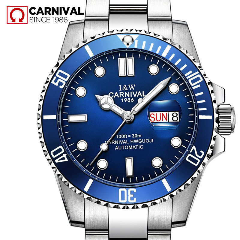 online get cheap swiss watches men aliexpress com alibaba group new swiss carnival water ghost series classic blue dial luxury men automatic watches full stainless steel