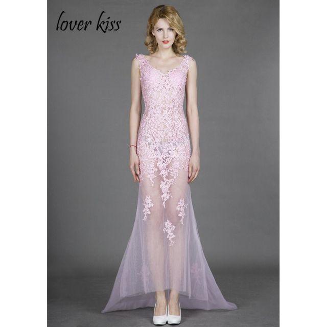 3d2352b19 Vestidos de baile V Cuello Rosa Sexy de Encaje Apliques de Tul 2017 Sirena  Vestido de